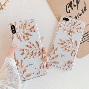NEW iPhone 11/Pro/Max/XR/7/8/Plus Gold Leaves case